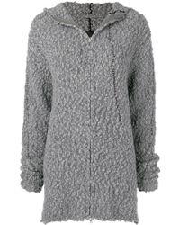 Thom Krom Contrast Stitch Hooded Zip Cardigan - Gray