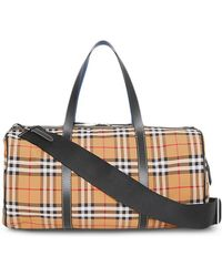 Burberry - Check Leather Barrel Bag - Lyst