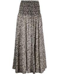 MASSCOB Falda larga con estampado floral - Negro