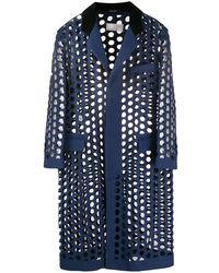 Maison Margiela - Leather-trimmed Cutout Wool-blend Coat - Lyst