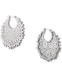 Marchesa notte Embellished Cut-out Hoop Earrings - Black