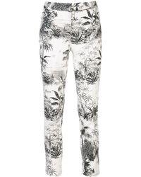 Adam Lippes Palm Print Trousers - White