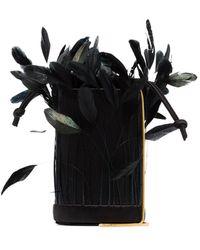 Vanina L'envol Feather Bucket Bag - Black