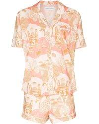 Desmond & Dempsey Pahari Print Pajama Set - White