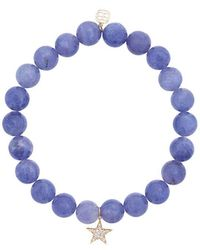 Sydney Evan - Blue Tanzanite Beaded Bracelet With Diamond Star Charm - Lyst