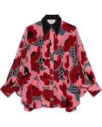 Gucci Poppies シルクシャツ - レッド