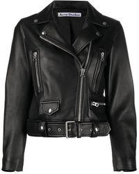 Acne Studios レザー ライダースジャケット - ブラック