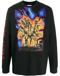 Acne Studios Langarmshirt mit Monster-Print - Schwarz