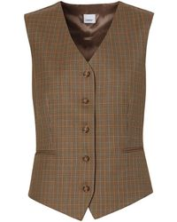 Burberry Houndstooth Check Wool Tailored Waistcoat - ブラウン