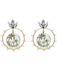 Anton Heunis - Gold Metallic, White And Green Desire Swarovski Crystal Earrings - Lyst