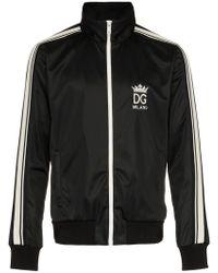 Dolce & Gabbana Zipped Sweatshirt With Stripe Detail - Black