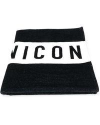 DSquared² Icon Print Beach Towel - Zwart