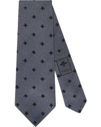 Gucci - Silk Tie With Bees And Stars - Lyst
