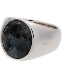 Tom Wood Sterling Silver And Opal Oval Larvikite Ring - Metallic