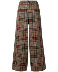 Pinko - Checked Wide Leg Trousers - Lyst