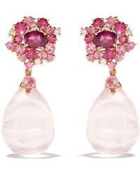 Brumani 18kt Rose Gold Baoba Bubbles Diamond, Topaz And Quartz Drop Earrings - Pink