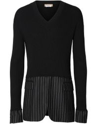 Burberry シルク パネル セーター - ブラック