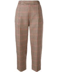 Monse Cropped Checked Trousers - Bruin