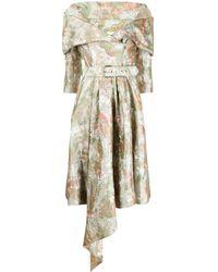 Moschino 0ff-shoulder Jacquard Dress - Green