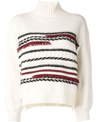 Coohem Striped Roll-neck Sweater - White