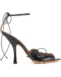 Y. Project Lace-up Stiletto Sandals - Black