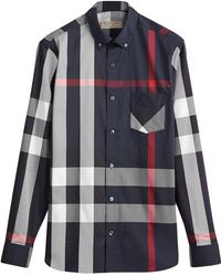 Burberry - Button-down Collar Check Stretch Cotton Blend Shirt - Lyst