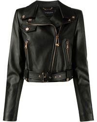 Versace Cropped-Bikerjacke mit Reißverschluss - Schwarz
