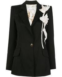 Oscar de la Renta Floral-appliqué Structured Blazer - Black
