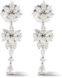 YEPREM 18kt White Gold Diamond Drop Earrings