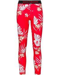 Paco Rabanne Floral-print leggings - Red