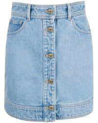Tommy Hilfiger - Quilted Panel Denim Skirt - Lyst