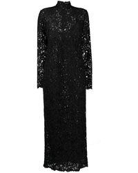 Saint Laurent スパンコール レースドレス - ブラック
