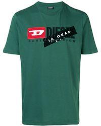 DIESEL T-shirt à logo devant - Vert