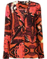 Alexander McQueen Блузка С Принтом Бабочек - Красный