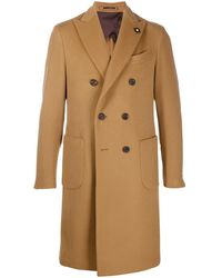 Lardini Double-breasted Wool Coat - Brown