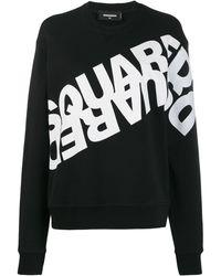 DSquared² Sweatshirt mit Logo-Print - Schwarz