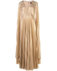 Marchesa notte Pleated Cape Detail Kaftan Gown - Metallic