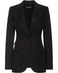 Dolce & Gabbana レースオーバーレイ ジャケット - ブラック
