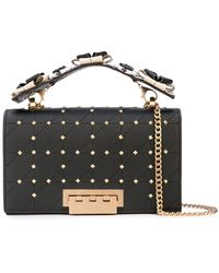Zac Zac Posen Earthette Floral Top Handle Leather Studded Chain Shoulder Bag - Black