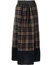 Daniela Gregis Plaid Check Drawstring Skirt - Brown