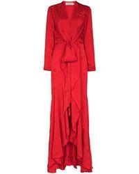 Silvia Tcherassi Robe Albarella longue à fleurs - Rouge