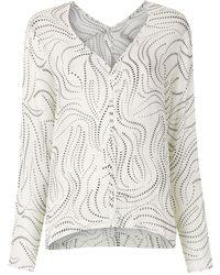Egrey Dots Long Sleeved Blouse - White