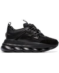 Versace Black Chain Reaction Chunky Faux Leather Trainers
