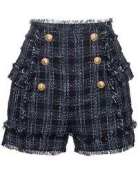 Balmain - Tweed High-waisted Shorts - Lyst