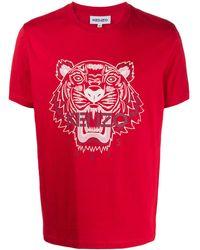 KENZO Футболка С Принтом Tiger - Красный
