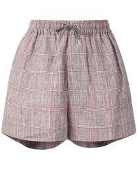 Karen Walker Maple Checked Linen Shorts - Multicolour