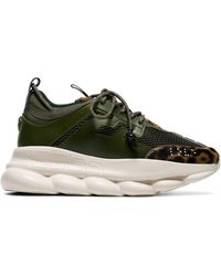 Versace Khaki Leather Sneakers - Green