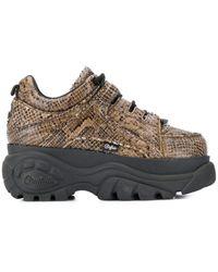 Junya Watanabe X Buffalo Snake-effect Platform Sneakers - Brown