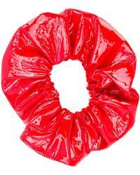Manokhi Patent Hair Scrunchie - Red