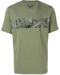 Woolrich ロゴストライプ Tシャツ - グリーン